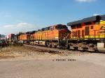 BNSF 4098 sb stack train 2nd unit